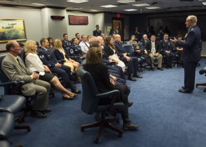 Air Force Chief of Staff Gen. Mark. A Welsh III talks with the 2014 and 2015 Lance P. Sijan Leadership award winners prior to their presentation ceremony in the Pentagon, Washington. D.C., April 7, 2016. The Sijan award, first presented in 1981, was named in honor of the first Air Force Academy graduate to receive the Congressional Medal of Honor. Each year it is given to a senior and junior officer, and a senior and junior enlisted member who demonstrated outstanding leadership abilities though out the year. Then Lt. Sijan was shot down over Vietnam on Nov. 9, 1967. Despite severe injuries he evaded capture for 45 days. He was promoted to Capt. while in captivity. He later died while being held at the infamous Hanoi Hilton, and was posthumously awarded the Medal of Honor for his heroism. The 2014 winners are: Lt. Col. Stephen Matthews, Capt. John Sullivan, Master Sgt. Janell McGivern and Senior Airman Tristen Windel. The winners for 2015 are: Maj. Patrick Kolesiak, Capt. David Plachno, Senior Master Sgt. Justin Deisch and Tech. Sgt. Kevin Henderson. (U.S. Air Force photo/Jim Varhegyi)