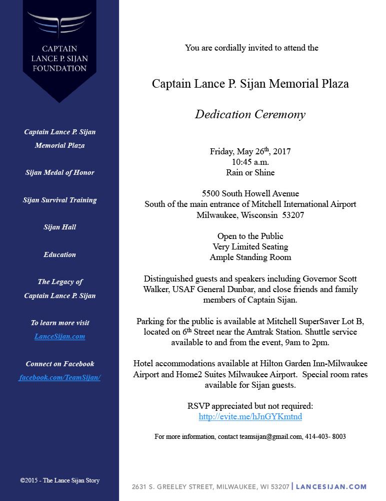 Dedication Ceremony for: Captain Lance P. Sijan Memorial Plaza