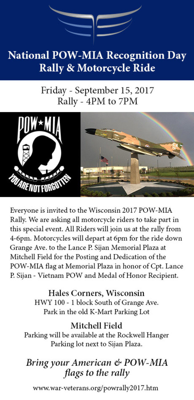 National POW-MIA Recognition Day Rally & Motorcycle Ride